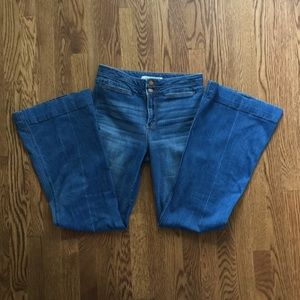 Abercrombie high rise wide leg flare jeans